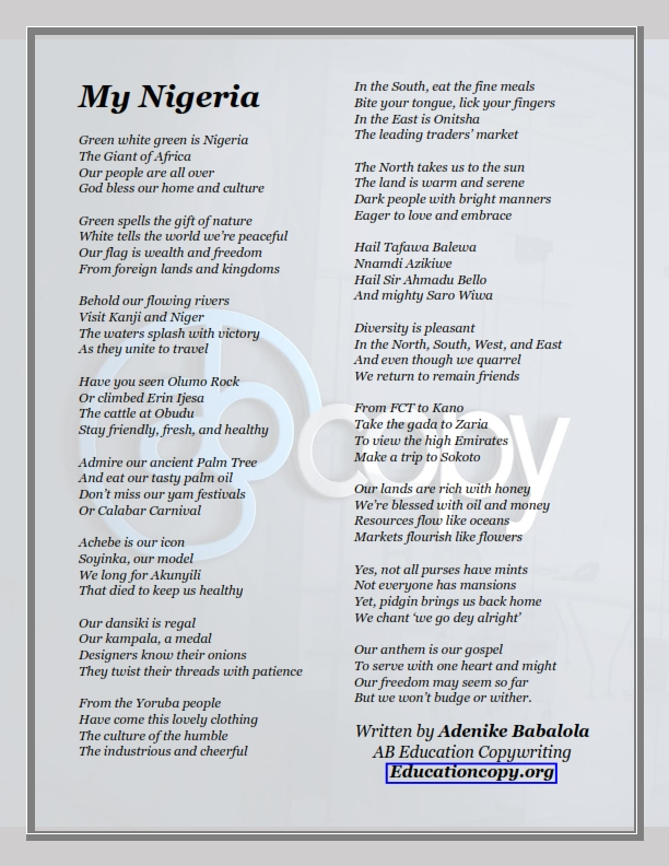 64-line poem about Nigeria written by Adenike Babalola