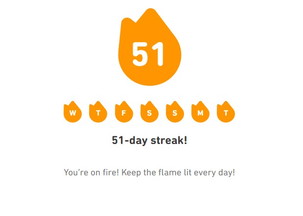 An image showing progress on Duolingo thanks to language learning affirmations
