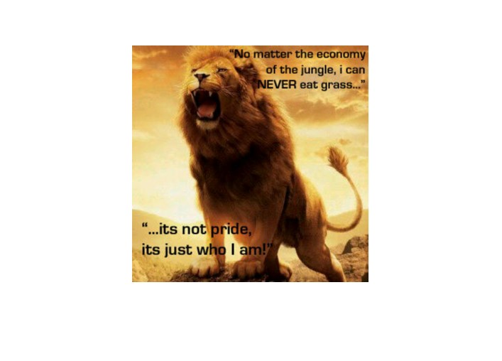 A lion using positive affirmations to  prove that it will never go hungry