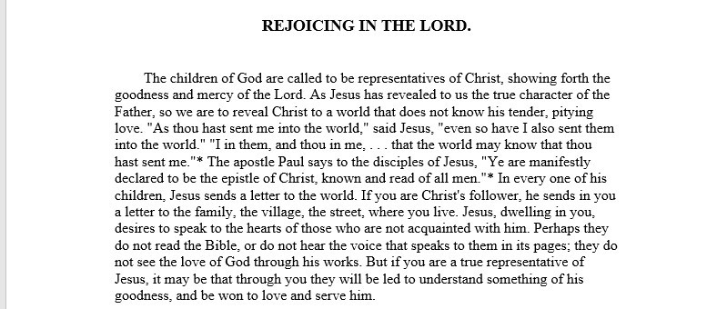 Steps to Christ chapter 13, Rejoicing in the Lor